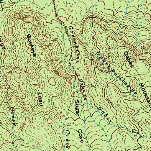 Topographic Map of Gabes Creek, TN