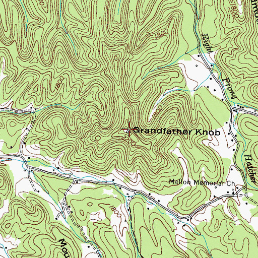 Topographic Map of Grandfather Knob, TN