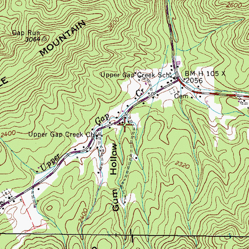 Topographic Map of Gum Hollow, TN