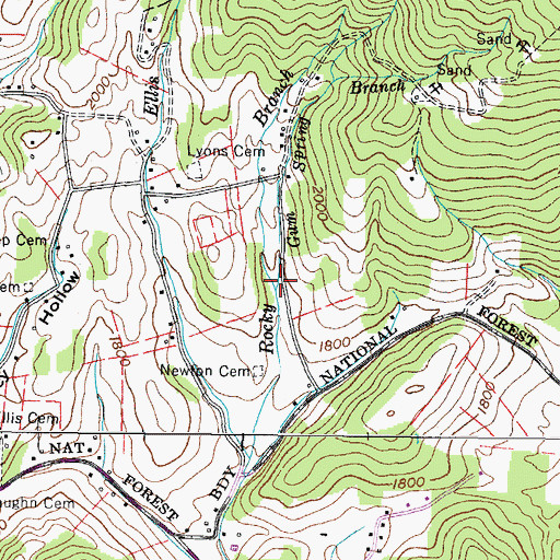 Topographic Map of Gum Spring Branch, TN