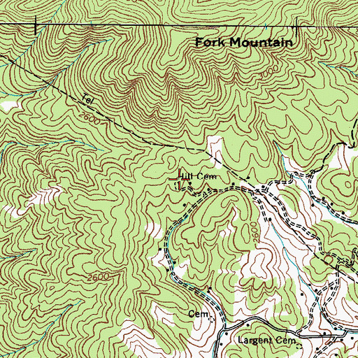 Topographic Map of Hill Cemetery, TN