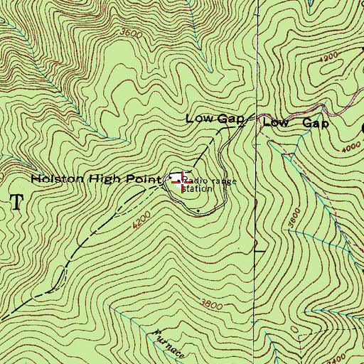 Topographic Map of Holston High Point, TN