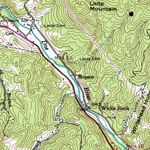 Topographic Map of Hopson, TN