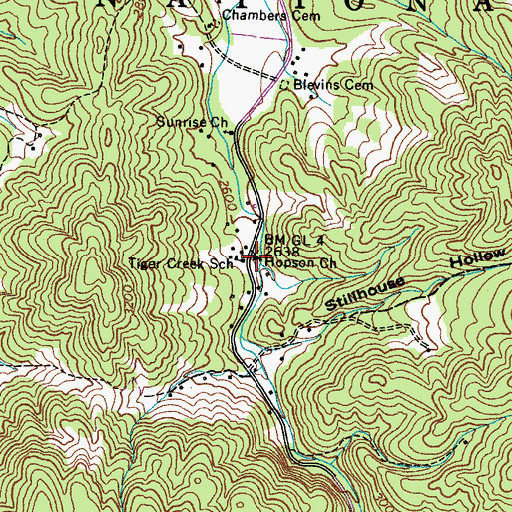 Topographic Map of Hopson Church, TN