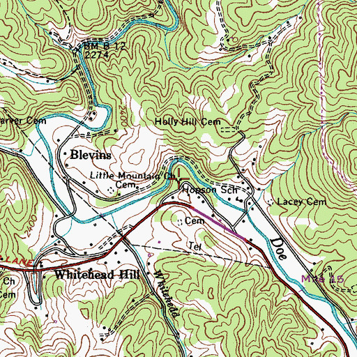 Topographic Map of Little Mountain Church, TN