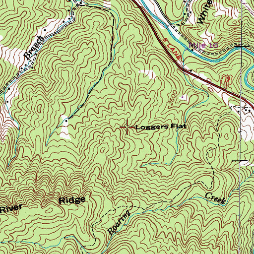 Topographic Map of Loggers Flat, TN
