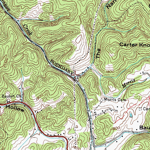 Topographic Map of Morris Branch, TN