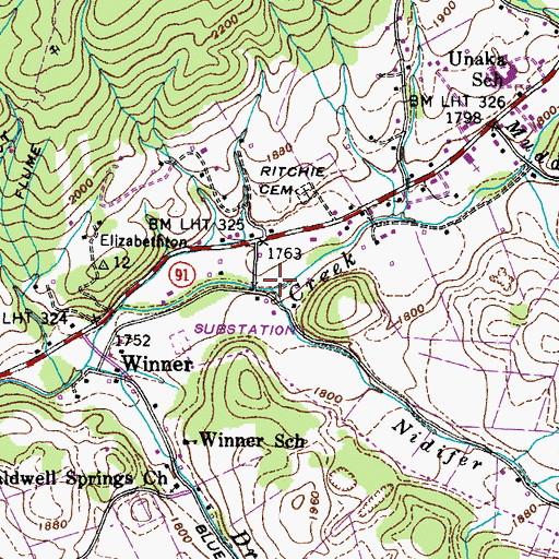 Topographic Map of Nidifer Branch, TN