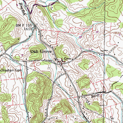 Topographic Map of Oak Grove, TN