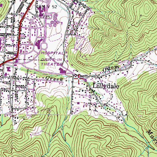 Topographic Map of Odom Branch, TN