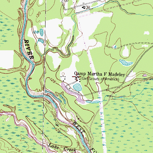 Topographic Map of Camp Martha F Madeley, TX