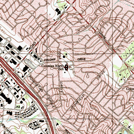 Topographic Map of Colonies North School, TX