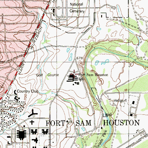 Topographic Map of Fort Sam Houston School, TX