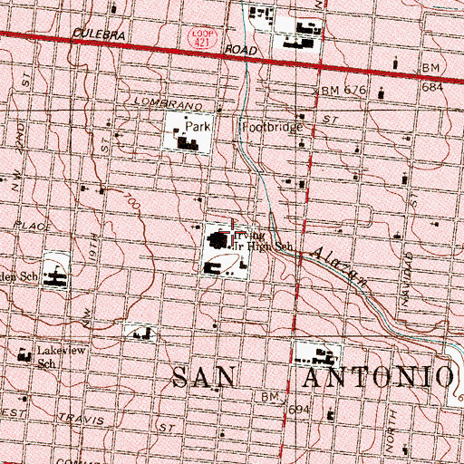 Topographic Map of Grant School, TX