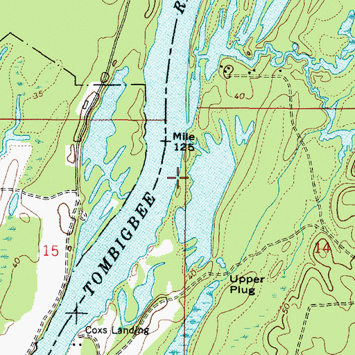Topographic Map of Turners Landing (historical), AL