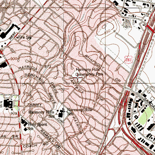 Topographic Map of Harmony Hills Community Park, TX