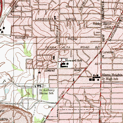 Topographic Map of Howard School, TX