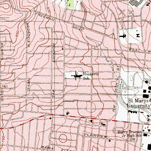 Topographic Map of Huppertz School, TX