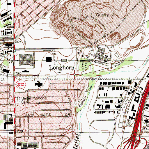 Topographic Map of Longhorn, TX
