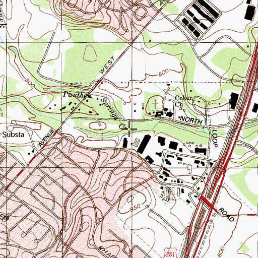 Topographic Map of Panther Springs Creek, TX