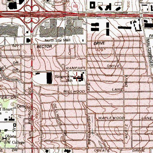 Topographic Map of Ridgeview School, TX