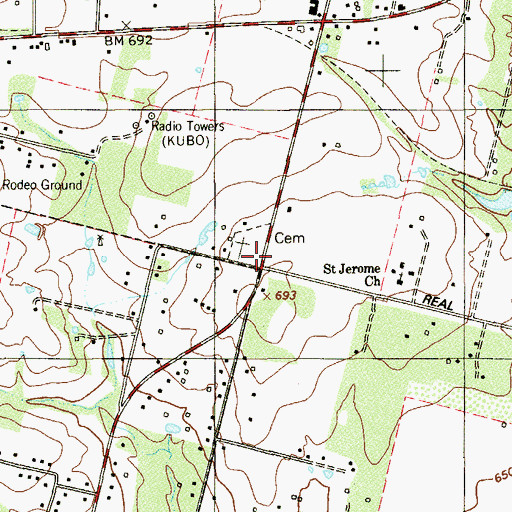 Topographic Map of Saint Jerome Church, TX