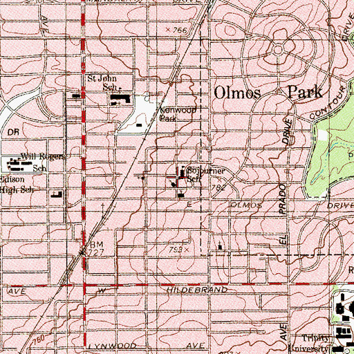Topographic Map of Sojourner School (historical), TX