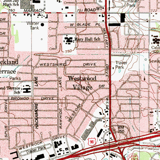 Topographic Map of Westwood Village, TX