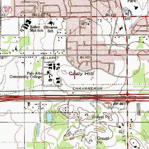 Topographic Map of Curly Hill, TX