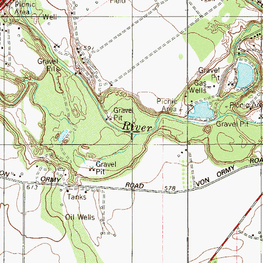 Topographic Map of Live Oak Slough, TX