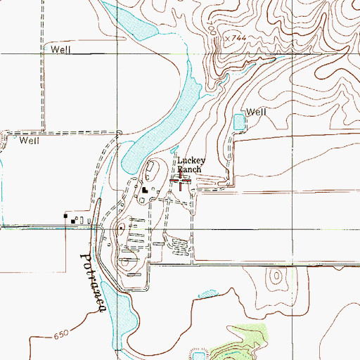 Topographic Map of Luckey Ranch, TX