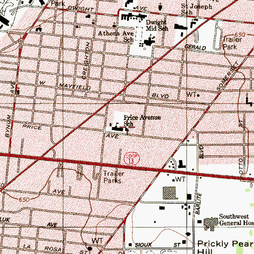 Topographic Map of Price Avenue School, TX