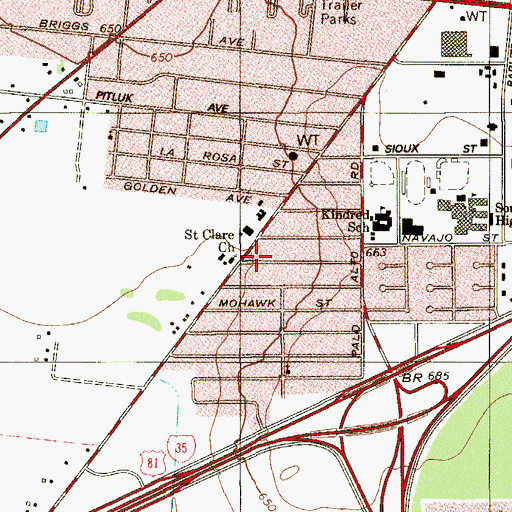 Topographic Map of Saint Clare Church, TX
