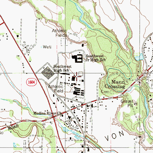 Topographic Map of Southwest High School, TX