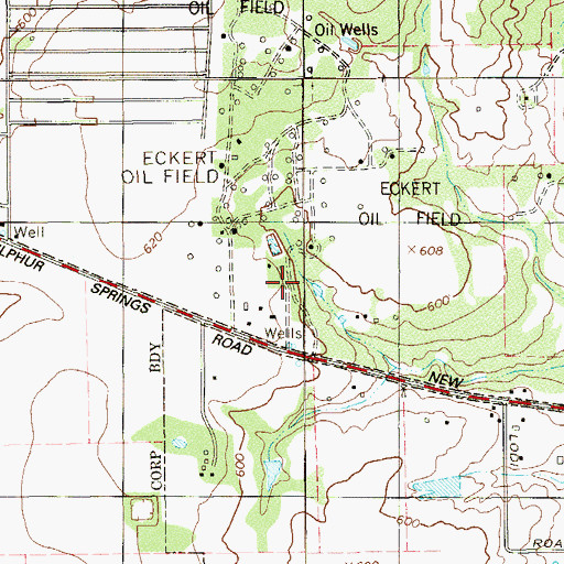 Topographic Map of Eckert Oil Field, TX