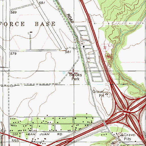 Topographic Map of Brooks Park, TX