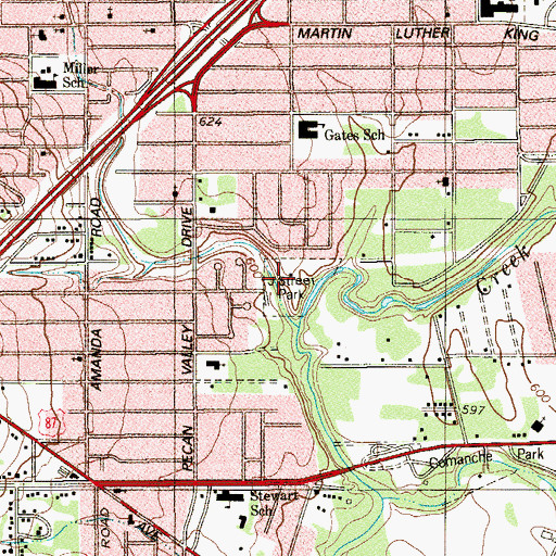 Topographic Map of J Street Park, TX