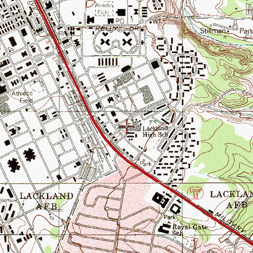 Topographic Map of Lackland High School, TX