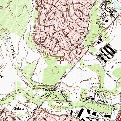 Topographic Map of Oak Hills Park, TX