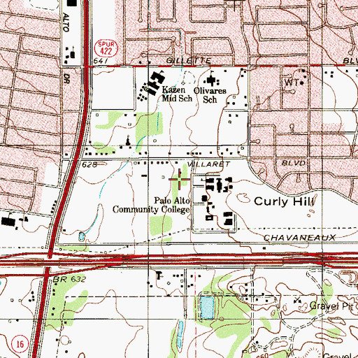 Topographic Map of Palo Alto College, TX