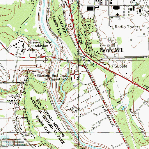 Topographic Map of San Antonio Missions National Historical Park, TX