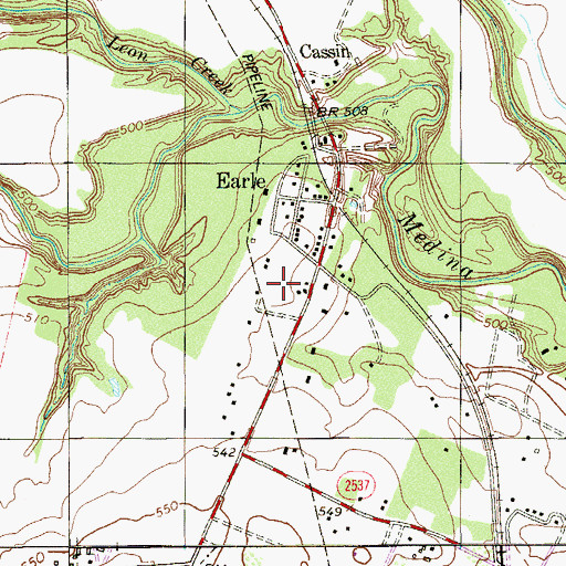 Topographic Map of Cassin, TX