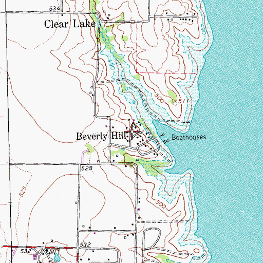 Topographic Map of Beverly Hill, TX