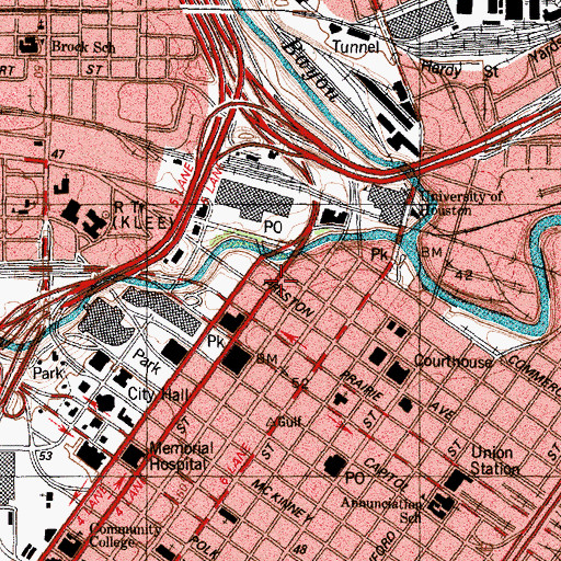 Topographic Map of Houston, TX