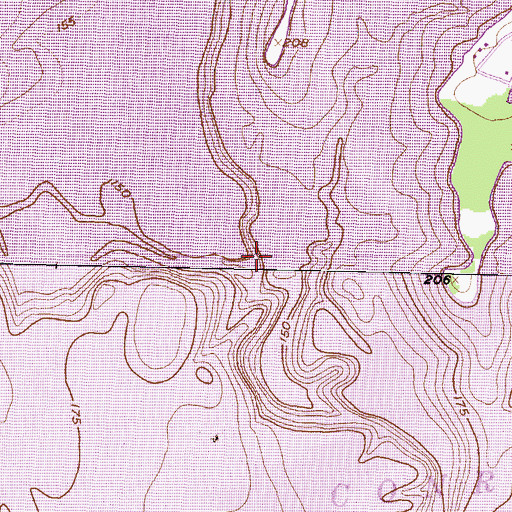 Topographic Map of Atkins Creek, TX