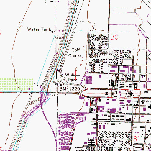 Topographic Map of Willie Park, AZ