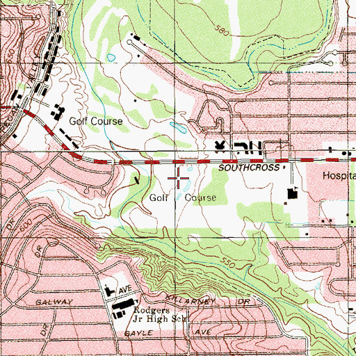 Topographic Map of Pecan Valley Golf Course, TX