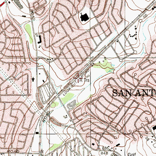 Topographic Map of KDRY-AM (Alamo Heights), TX