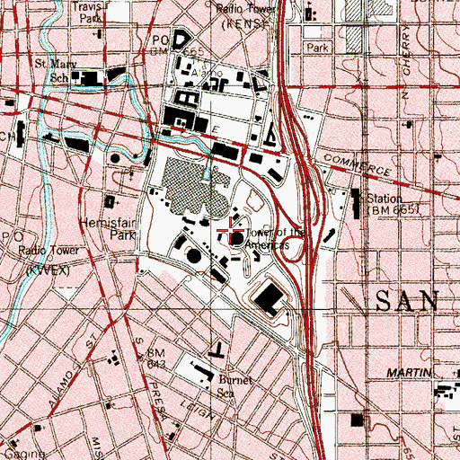 Topographic Map of KQXT-FM (San Antonio), TX
