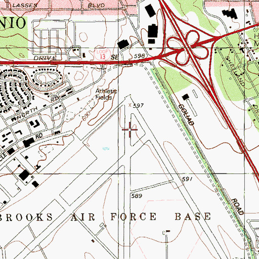 Topographic Map of Brooks Air Force Base (historical), TX